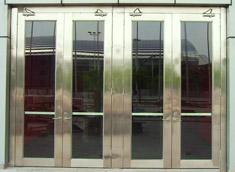 不锈钢双开防火玻璃门带